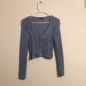 Cropped Baby Blue Sweater Top